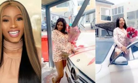 Mercy Eke celebrates as she receives Benz Gift from a fan (Photos)