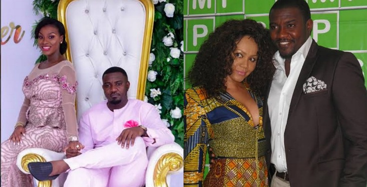 John Dumelo's wife reacts as he kisses Nadia Buari in front of her