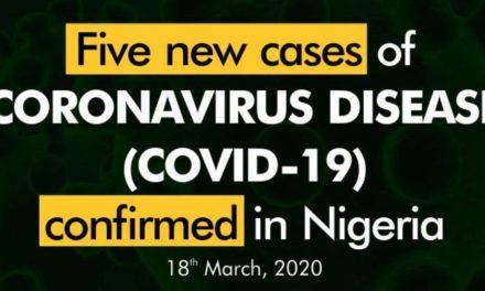 5 new coronavirus cases confirmed in Nigeria