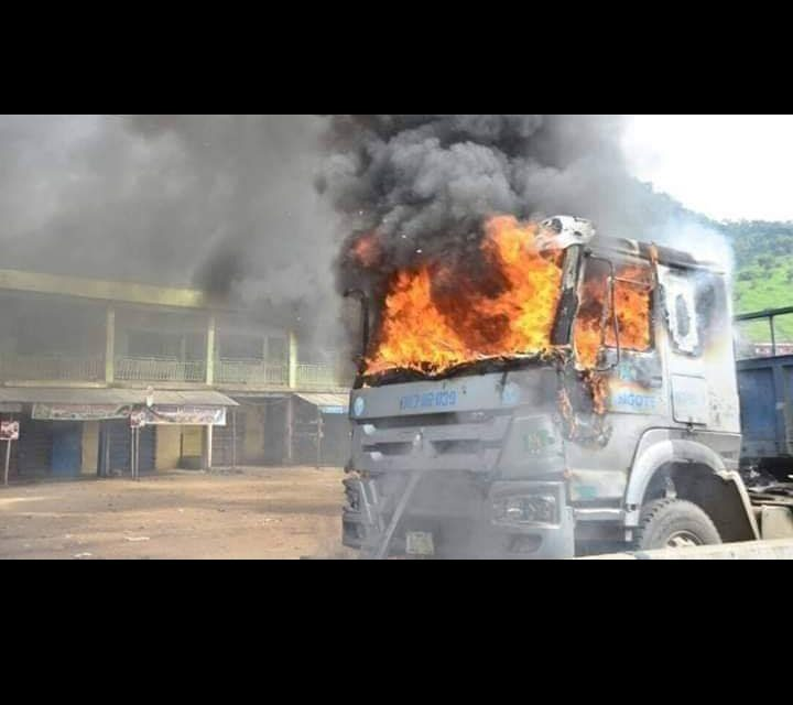 Mob sets Dangote trucks ablaze for crushing two to death in Ogun