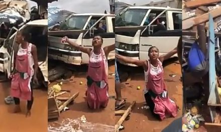 Lady narrowly escapes death as commercial bus crashes into her shop