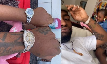 Twinning ! – Davido and his daughter, Imade, rock matching expensive wristwatches.