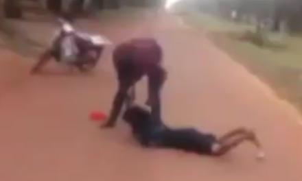 Man caught on camera brutally beating a woman at Kogi State University
