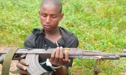 Police arrest a young herdsman with AK 47 rifle
