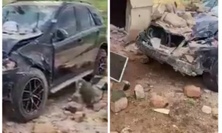 Big 'wahala' as another car wash boy crashes his client's Benz (video)
